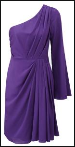 Angel Sleeve Purple Pleat Swathed One Shouldered Dress