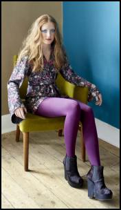 Miss Selfridge - Purple Tights/Floral Tunic Dress.