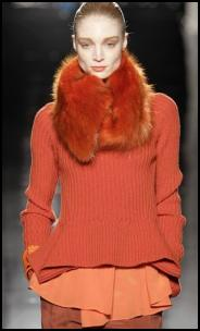 Orange Peach Emberglow Rib Knit Sweater & Fur Collar Tippet.