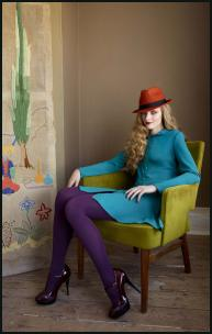 Colour Blocking - Teal Dress, Purple Tights.