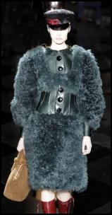Teal Blue Fur Coat Louis Vuitton AW11.