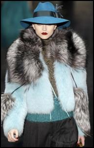 Gucci AW11 Pastel Fur Jacket, Teal Blue Fedora Hat.
