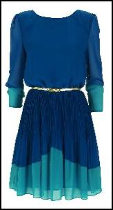 Topshop Fine Pleat Skirted Dress - Royal Blue- Teal Blue.