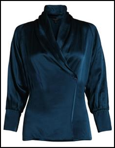 Beautiful Teal Satin Wrap Blouse - Ted Baker AW11.