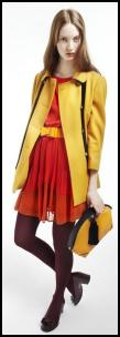 Topshop AW11 Yellow Black Trim Short Coat.