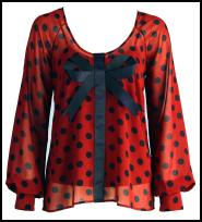 Holly Willoughby Blue Spot Print Orange/Coral Chiffon Blouse.