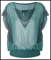 Wallis AW11 - Teal Blouson Dropped Waist Style Teal Beaded Blouse.