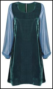 Wallis Teal Velvet 60s A-Line Shift Dress.