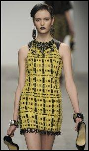 Holly Fulton Ready To Wear AW11 Textured Weave Yellow/Black Dress.