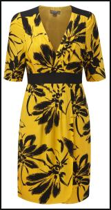 Fever AW11 Black Yellow Exotic Print Dress.
