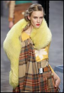 Sonia Rykiel Yellow Fur Heritage Tartan Look - Winter Fashions.