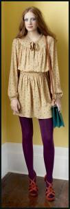 Colourful Purple Opaque Tights/Pantyhose, Yellow Print Dress.