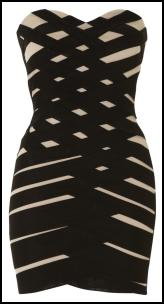 Body Con Black Bandage Wrap Dress.