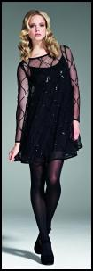 Black Short Sixties Dress, Sheer Bodice & Sleeves.