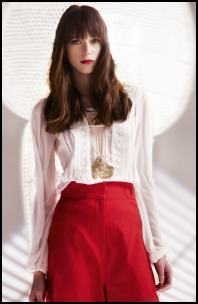 Tuck Lace White Summer Blouse, Red Wide Pants.