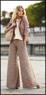 NEXT Mink Ditsy Print Wide Leg Trousers.