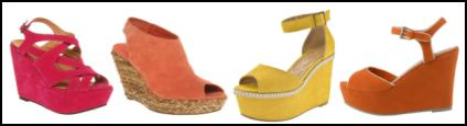 Coloured Suede Wedge Shoes.