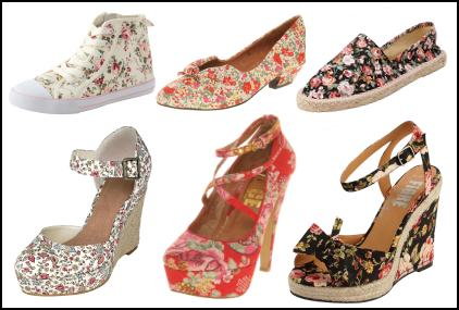 Ditsy Floral Fabric Flat Shoes, Wedges & Platforms.