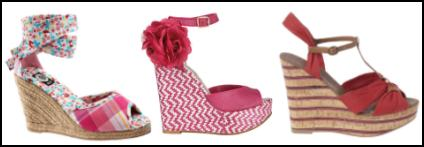 Pink, Cerise and Raffia Wedge Shoes.