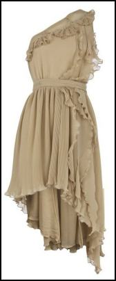 Coffee Fine Pleated One Shoulder Chiffon Dress.