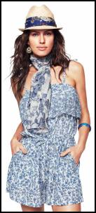 Blue and White Petal Print Playsuit - Monsoon SS2011.