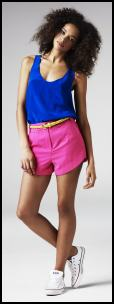 Electric Blue Mischa top �29.99, Gina Short Shorts �26.99. River Island SS11 .
