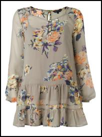 Marks & Spencer Grey/Peach Long Vintage Floral Top/Camisole