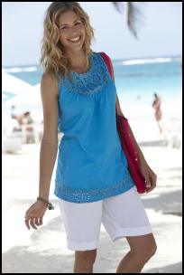Plus Size Beachwear - Turquoise Sleeveless Tunic.
