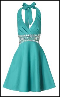 Jane Norman Turquoise Halter Neck Prom Dress With Beaded Jewel Waist.