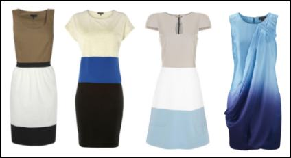 Blues Colour Blocking and Ombre Dresses - Trend 2011.