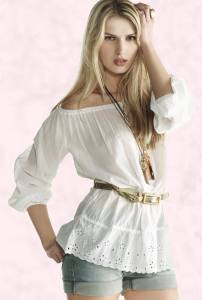 White Peasant Blouse - Broderie Anglaise Trim Hem