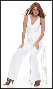 Matalan White Fitted Linen Waistcoat, White Wide Leg Linen Trouser.