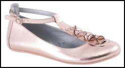 Metallic Pink T-bar Flat Shoe