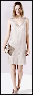 Biba Pastel Nude Beaded Retro Flapper Dress.
