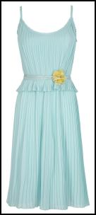 Mint Pleated Frilly Peplum Dress.