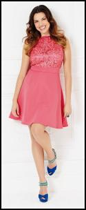 Coral Pink Lace Bodice Dress.