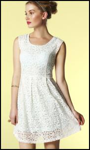 White Lace Dress With Pastel Peppermint Green Under-Layer.