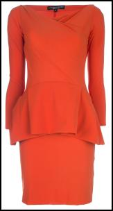 Tangerine Peplum Dress.