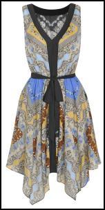 Scarf Print Handkerchief Hem Dress.