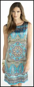Turquoise Taupe Mix Tropical Scarf Print Shift Dress.