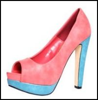 Boohoo Colour Clash - Coral & Blue Peep Toe Shoe.