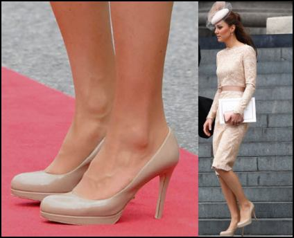 Kate Wearing Nude Shoes From L.K. Bennett.