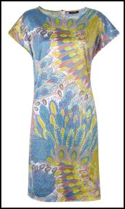 Isme Blue Feather Print Tunic Dress.