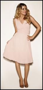 Pleated Peach Pink Party Dress - Modern Romance SS12 Collection at Kaliko.