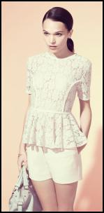 Lace Peplum Top &  Cream Shorts - Warehouse.