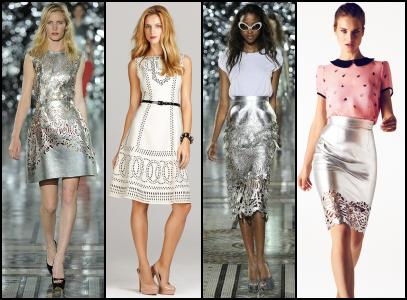 Metallic Leather Laser Cut Dresses & Silver Leather Skirts.
