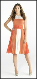M&Co Orla Kiely Colour-block Orange Pleat Dress �79.