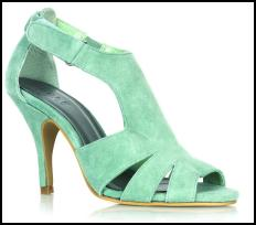 Aquamarine/Mint Green/Jade - Strappy Heeled Sandals.
