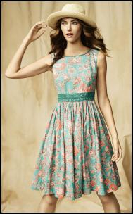 Green & Salmon Pink Patterned Dress.