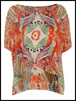 Orange Print Loose Top Blouse.